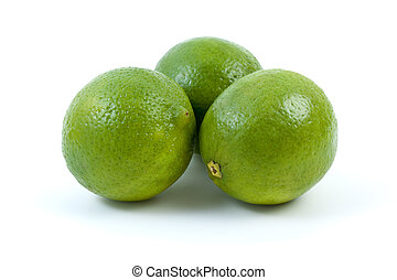 Three limes isolated on the white background