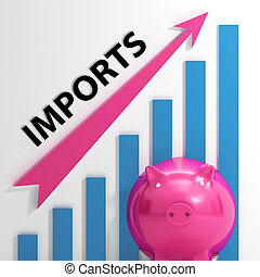 Imports Graph Shows International Trade And Importing Goods...
