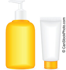 Lotion containers - Lotion tube on a white background....