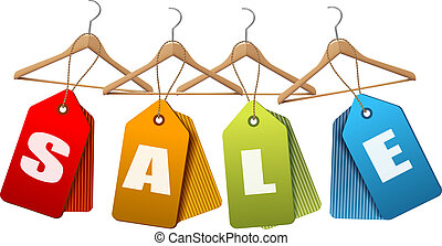 Sale tags. Concept of discount shopping. Vector illustration