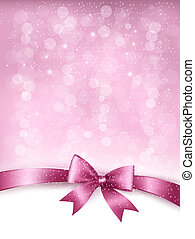 Holiday elegant background with gift glossy bow and ribbon. Vector.