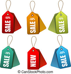 Set of colorrful sale tags Concept of discount shopping...