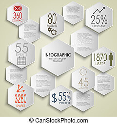 Abstract hexagon info graphic poster template vector eps 10