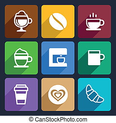 Coffee Flat Icons Set 44 - Coffee Flat Icons Set for Web and...