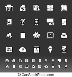 Home office icons on gray background