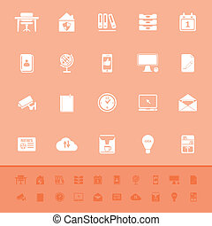 Home office color icons on orange background