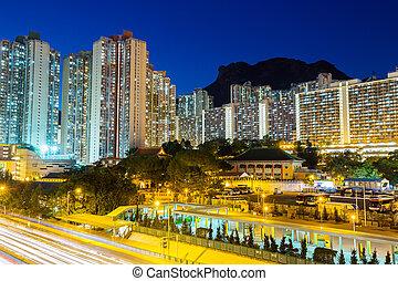 Public housing in Hong Kong at night