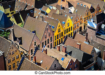 Detail of old rooftops and colorufl houses in historical...