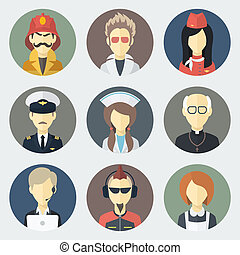Occupations Icons Set - Set of Circle Flat Icons with Man of...
