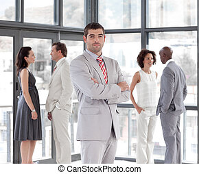 businesman showing confidence - Portrait of a businesman...