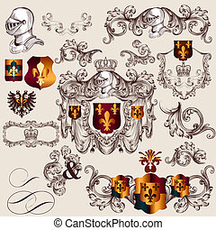 Collection of vector heraldic elements in vintage style -...