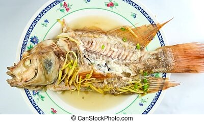 eating steamed fish timelapse - eating steamed fish chinese...