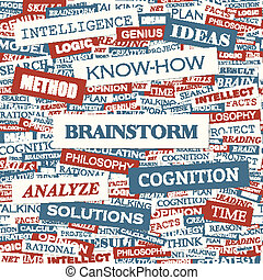 BRAINSTORM. Word cloud concept illustration. Wordcloud...