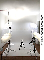 small empty amateur studio with the white background