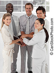 Business people in a huddle - agree, agreement, altogether,...