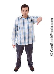 thumb down - young mad casual man, full body, going thumb...