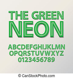 Abstract Green Neon Font and Numbers, Eps 10 Vector