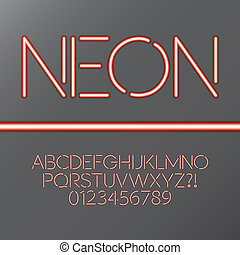 Red Neon Tube Alphabet and Numbers, Eps 10 Vector