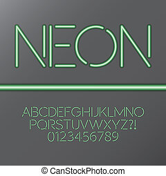 Green Neon Tube Alphabet and Numbers, Eps 10 Vector