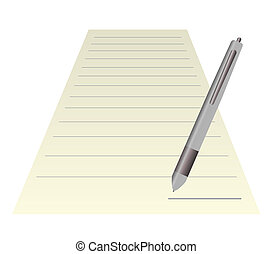 Blank note paper with pen isolated on white - Blank note...