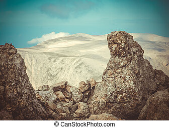 Rocks and stones with Mountains on background beautiful Landscape Caucasus nature
