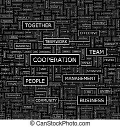 COOPERATION Seamless pattern Word cloud illustration