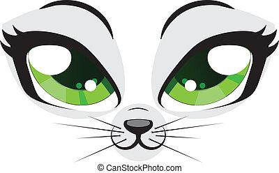 Kitten face - Cute cartoon kitten face with green eyes on...