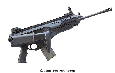 Assault rifle isolated on white with its adjustable stock...