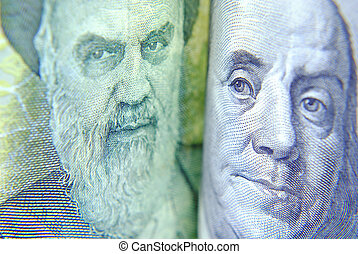 Close up of Currency USA and Iran - Close up of Currency USA...
