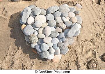 Herz aus Steinen - herz, steine, stein, sand, symbol,...