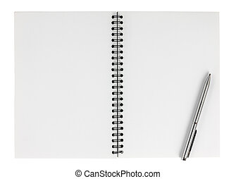 Spiral notebook with pen isolate