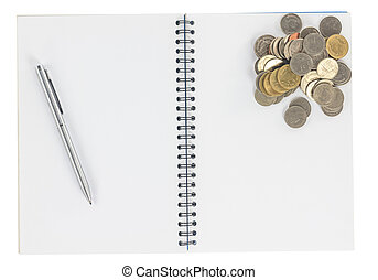 Spiral notebook with coins isolate