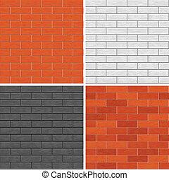 Seamless brick wall patterns. - Set of 4 seamless brick wall...
