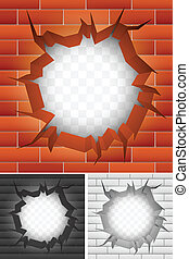 Crack in brick wall. Red, white and black bricks.