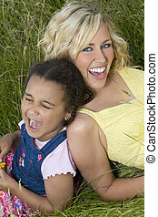 Family joke - A beautiful blond haired blue eyed young woman...
