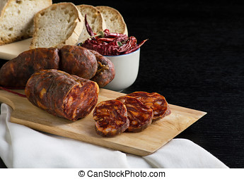 soppressata, sausage, Italian salami typical of Calabria