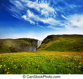 Waterfall in Iceland - icelandic dramatic landscapes