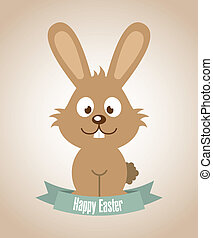 happy easter over pink background vector illustration