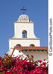 White Abobe Cross Steeple Bell Mission Red Bougainvillea...