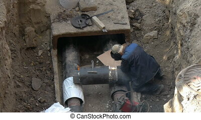 Welding pipe, welder right