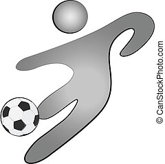 Person with a soccer ball logo - Person with a soccer ball...