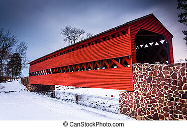 Sach's Covered Bridge during the winter, near Gettysburg,...