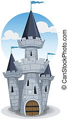 Castle Tower - Illustration of a cartoon old medieval castle...