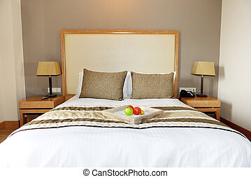 Apartment in the luxury hotel with apples on bed, Halkidiki,...