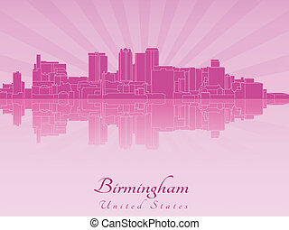 Birmingham AL skyline in purple radiant orchid in editable...