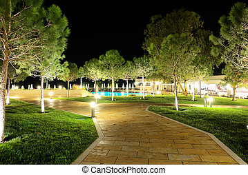 The trees in night illumination at luxury hotel, Halkidiki,...