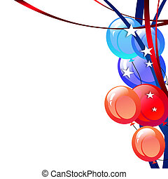 President Day Background - Balloons, streamers and stars -...