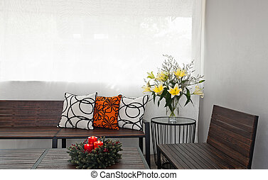 Patio lounge with wooden bench - Patio lounge with garden...
