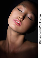 Aspiration. Longing Woman with Closed Eyes in her Thoughts....