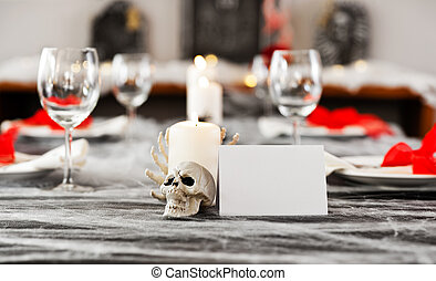 Halloween dinner table setting with  white place card